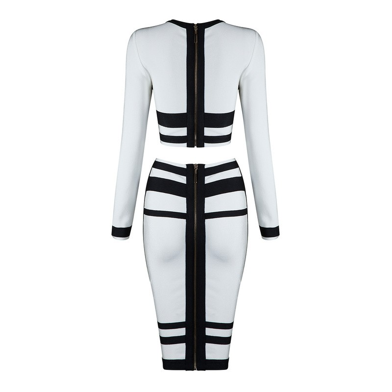 Top Quality Round Neck Longsleeve 2 Pieces White New Charming Bandage Dress HB804-WHITE