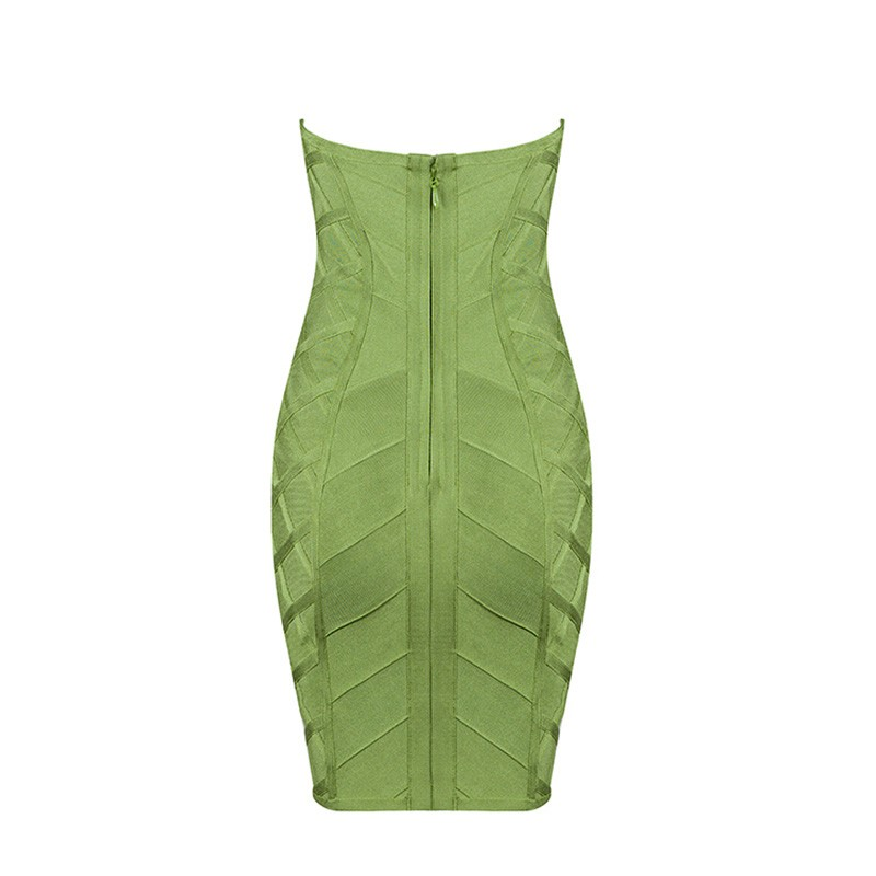 Amazing Strapless Sleeveless Green High Quality Bandage Dress HB830-Green