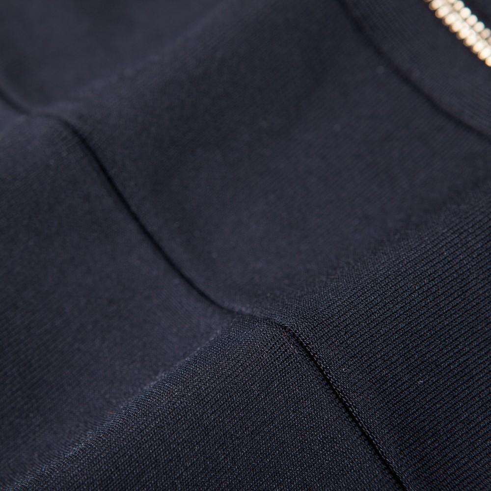 Top Quality Round Neck Longsleeve Above Knee Black Front Lace Up Back Zipped Bandage Dress HB878-Black