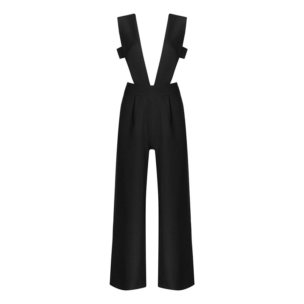 Deep V Neck Backless Sexy Good Design Black Bodycon Jumpsuits HB912S-Black