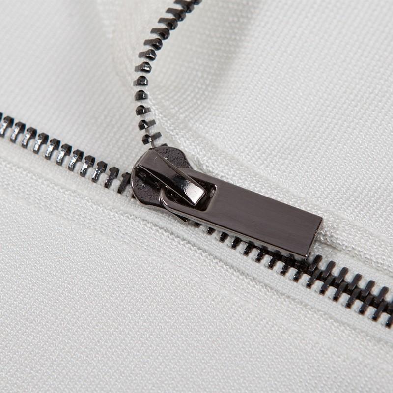 White Halter Long Sleeve Mini Lace Open Neck Fashion Bandage Dress HB920-White