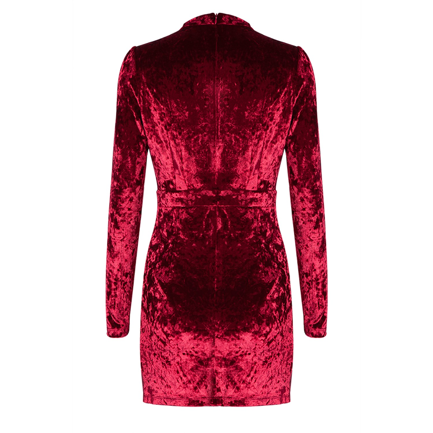 Wine V Neck Long Sleeve Mini Graceful Fashion Velvet Dress HB924-Wine