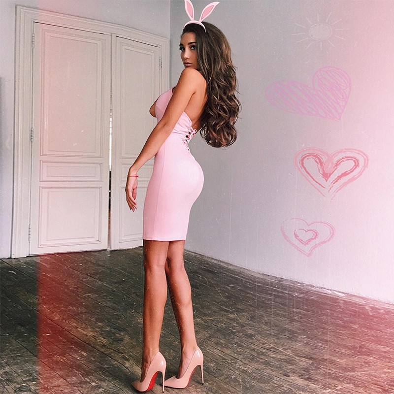 Pink Party Halter Sleeveless Mini Open Back Lace Up Bandage Dress HB940-Pink