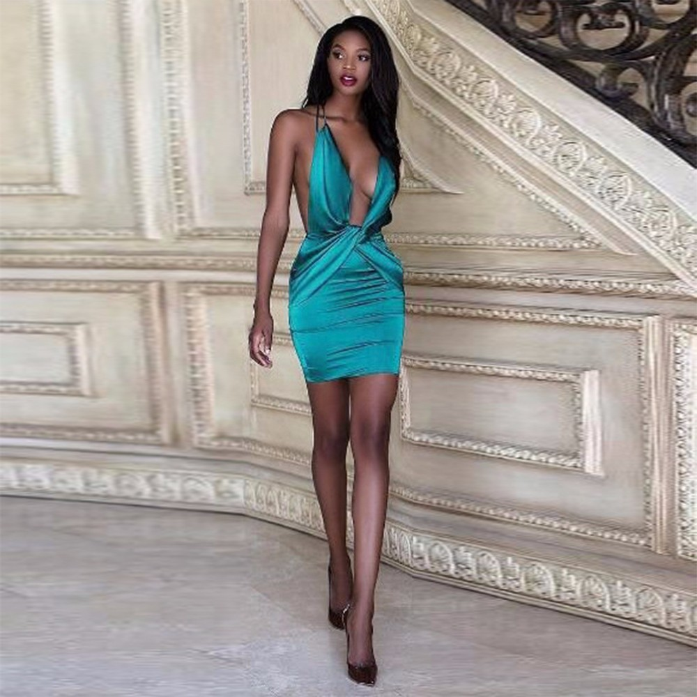 Blue Halter Sleeveless Mini Plain Sexy Bodycon Dress HB971-Blue