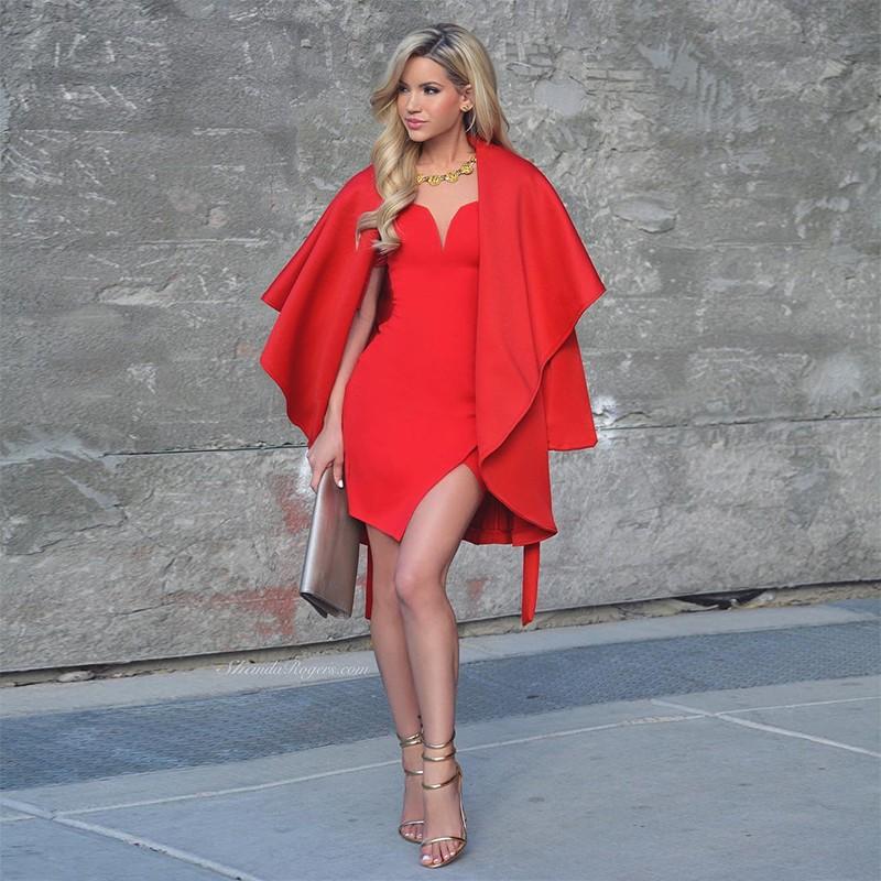 Red Off Shoulder Cap Sleeve Mini Side Slitted Oem Bandage Dress HB994-Red