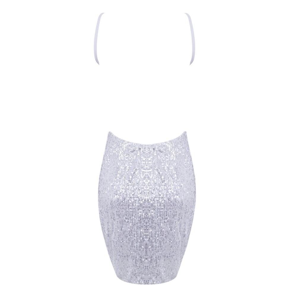 Silver V Neck Sleeveless Mini Strapy Sequins Sexy Bodycon Dress HD0266-Silver
