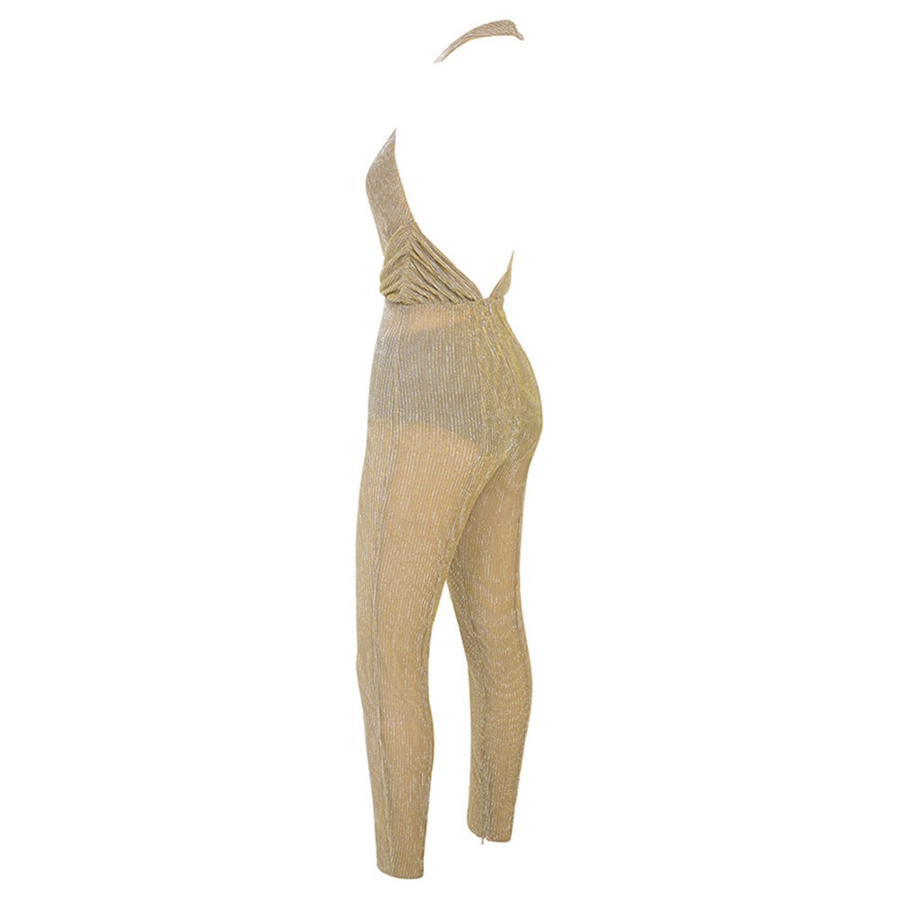 Golden V Neck Sleeveless High Quality Bodycon Jumpsuit HD0310-Golden