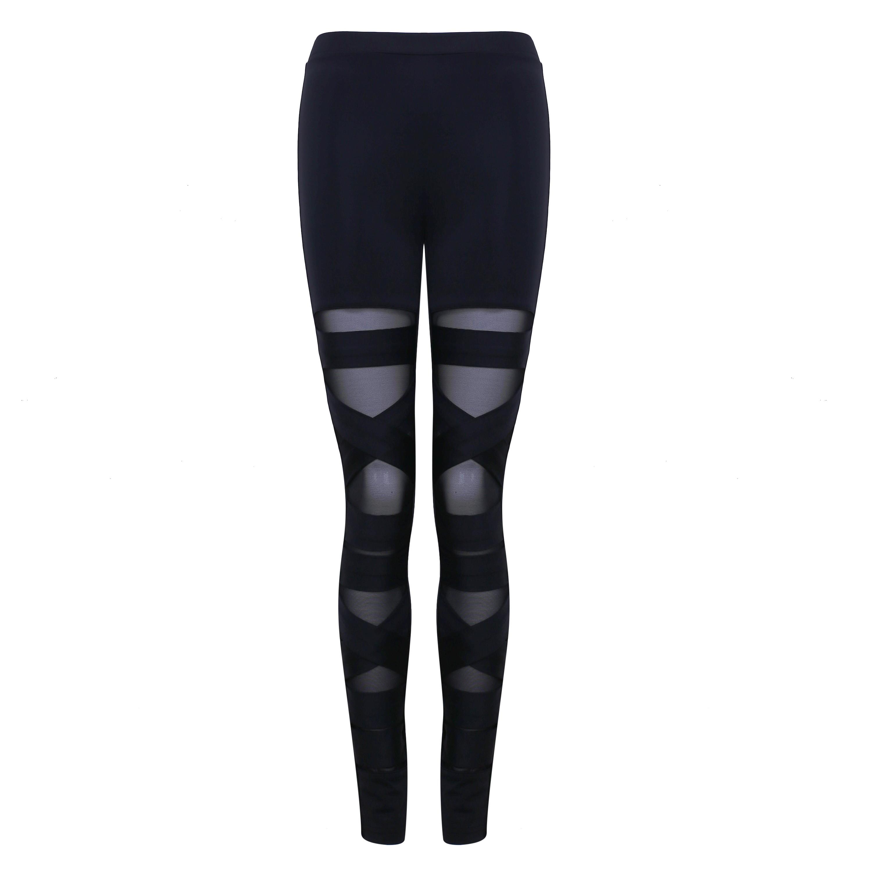 Black Mesh Fashion Bandage Pants HD0363-Black