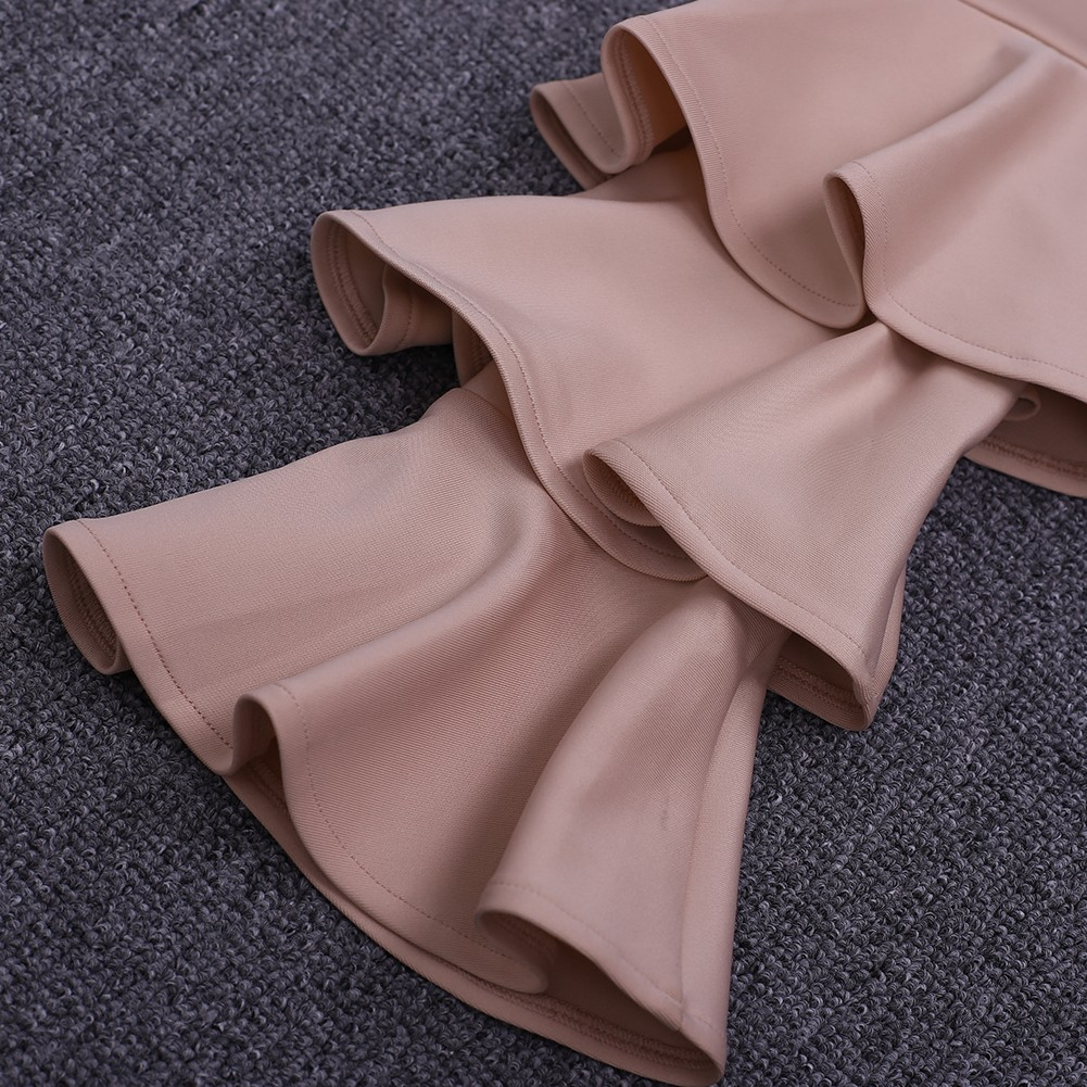 Nude Off Shoulder Long Sleeve Knee Length Ruffle Fashion Bodycon Dress HD0371-Nude