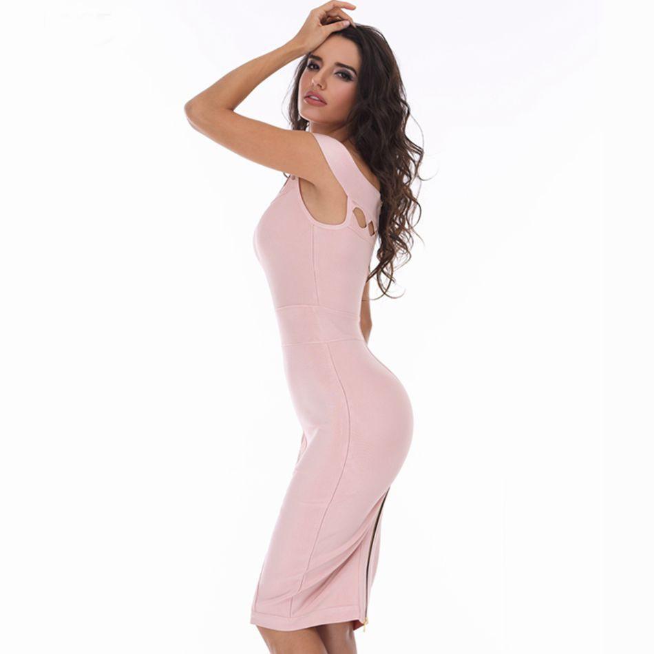 Fashion Off Shoulder Sleeveless Mini Pink Cutout Bandage Dress HD387-PINK