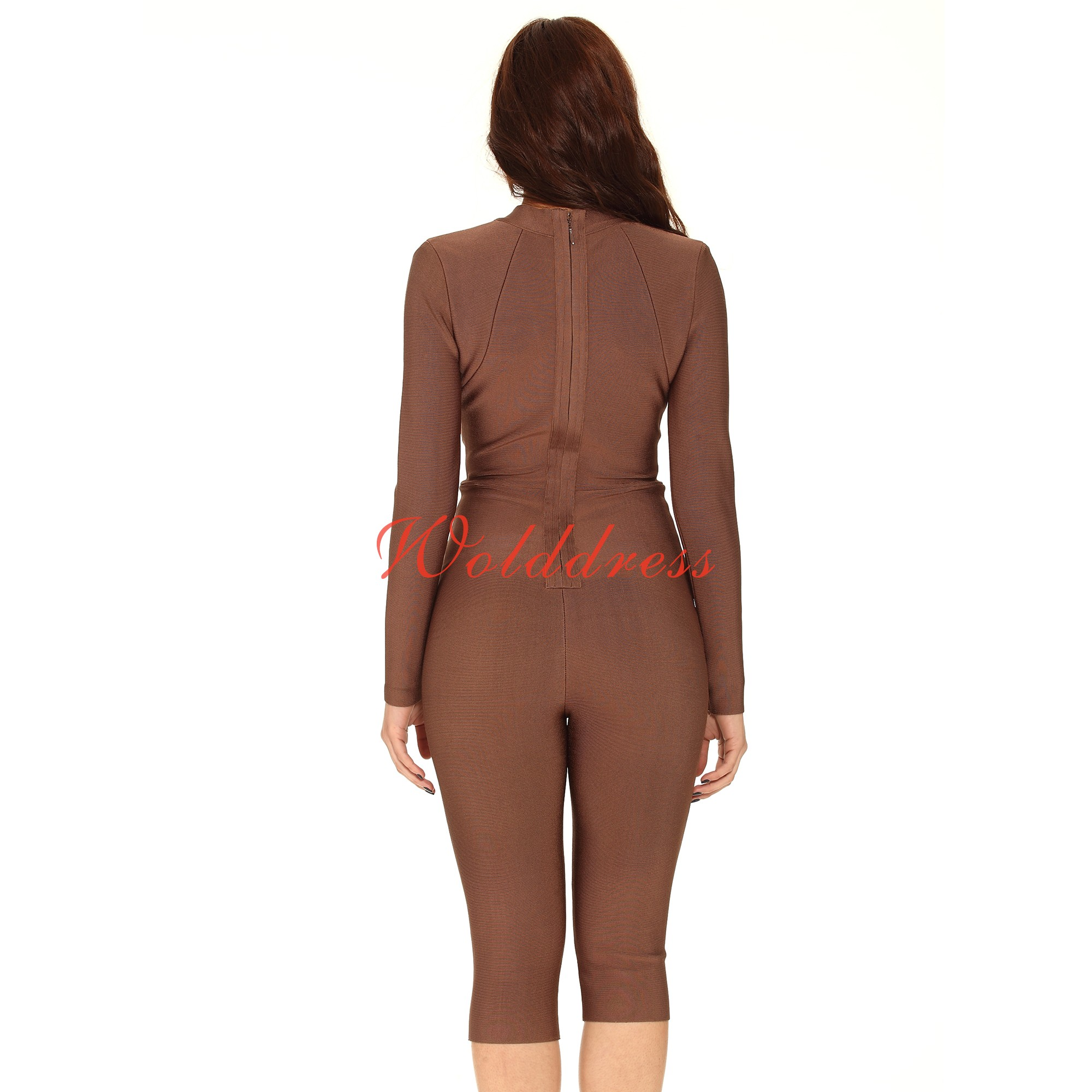 Party Round Neck Longsleeve Brown Cut Out Bandage Jumpsuits HD390-Brown