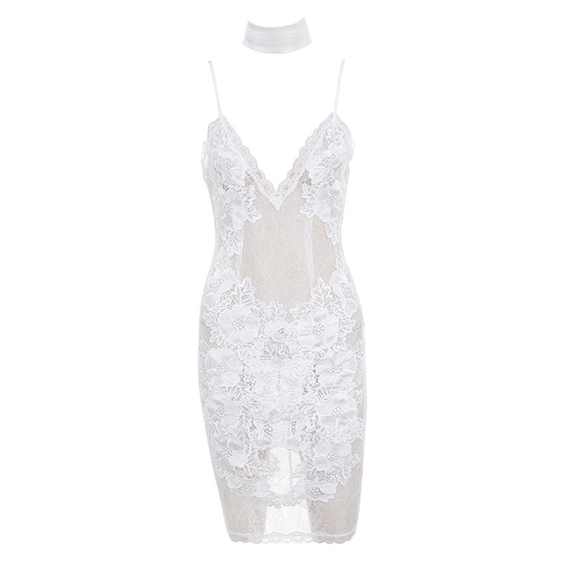 White V Neck Sleeveless One Piece Lace Short Sexy Bodycon Dress HD397-White
