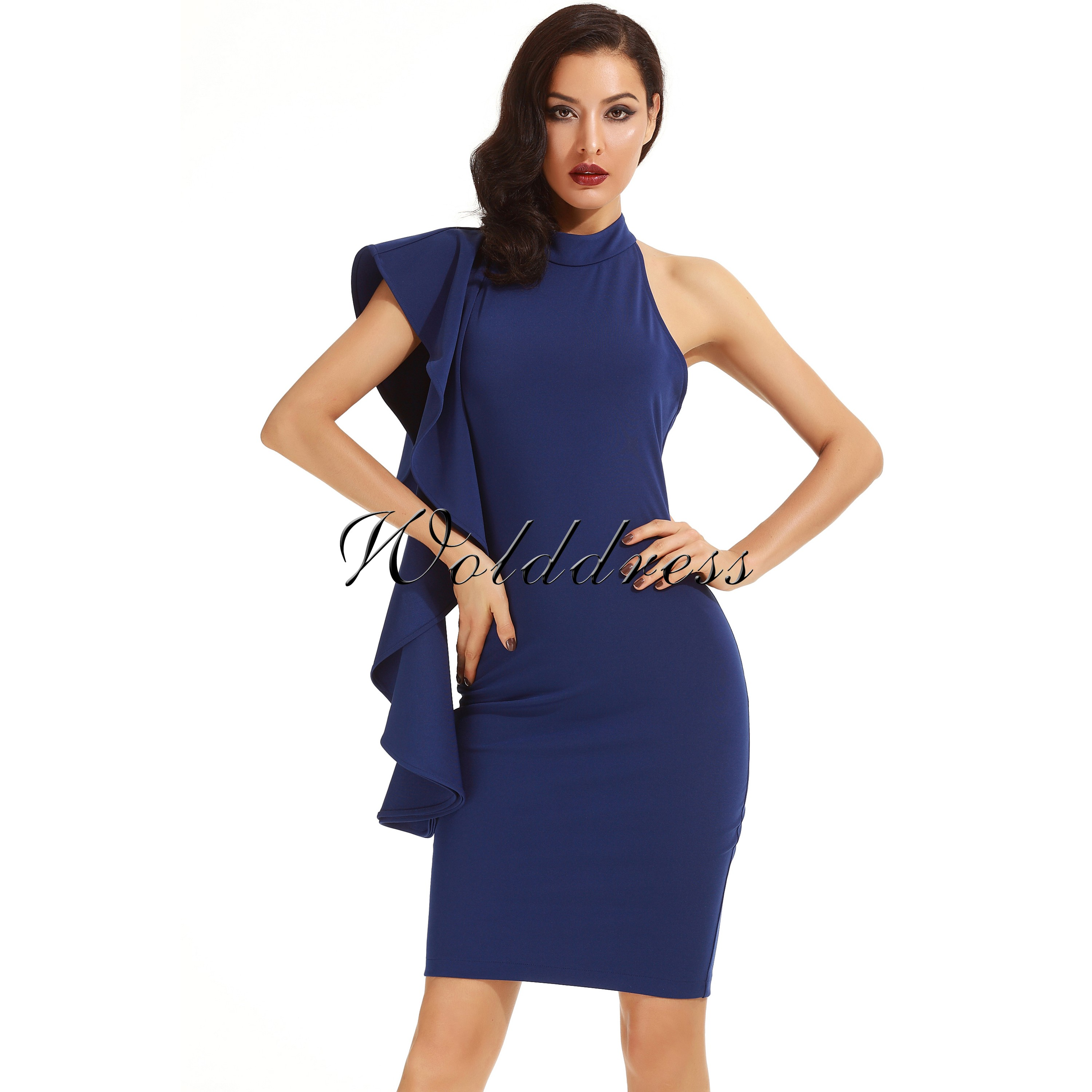 Blue Halter Sleeveless Knee Length Ruffles Elegant Bodycon Dress HD398-Blue
