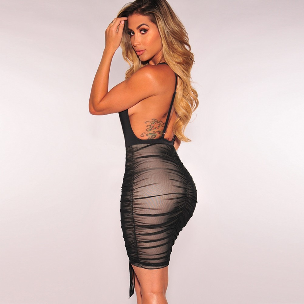 Black V Neck Sleeveless Mini Mesh Wrinkled Wholesale Bodycon Dress HD401-Black