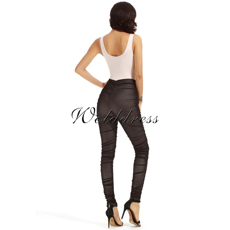 Round Neck Sleeveless Mesh Pants Sexy Bandage Jumpsuits HF111-Nude