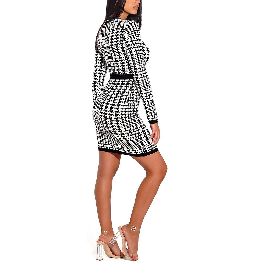 Black Round Neck Long Sleeve Mini Lace Black And Black Stripe Fashion Bandage Dress HF124-Black