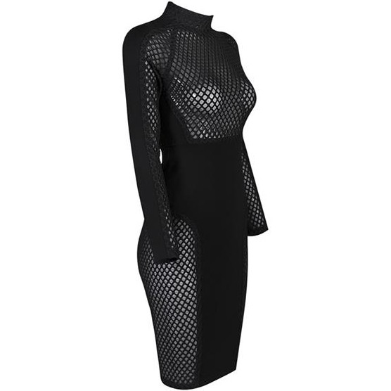 Turtle Neck Longsleeve Mini Hollow Out Meshed Black Spring Bodycon Dress HG272-Black