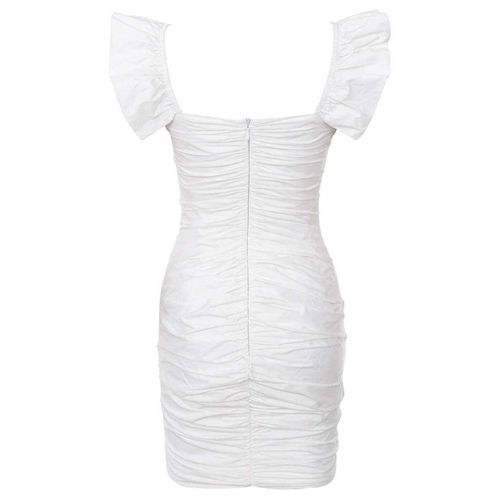 White Strappy Sleeveless One Piece Ruched Ruffles Fashion Bodycon Dress HI1025-White