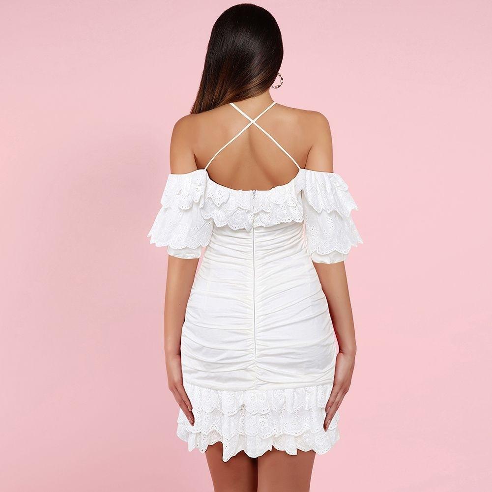 White Lace Mini Mid Sleeve Strapy Bodycon Dress HI1051-White