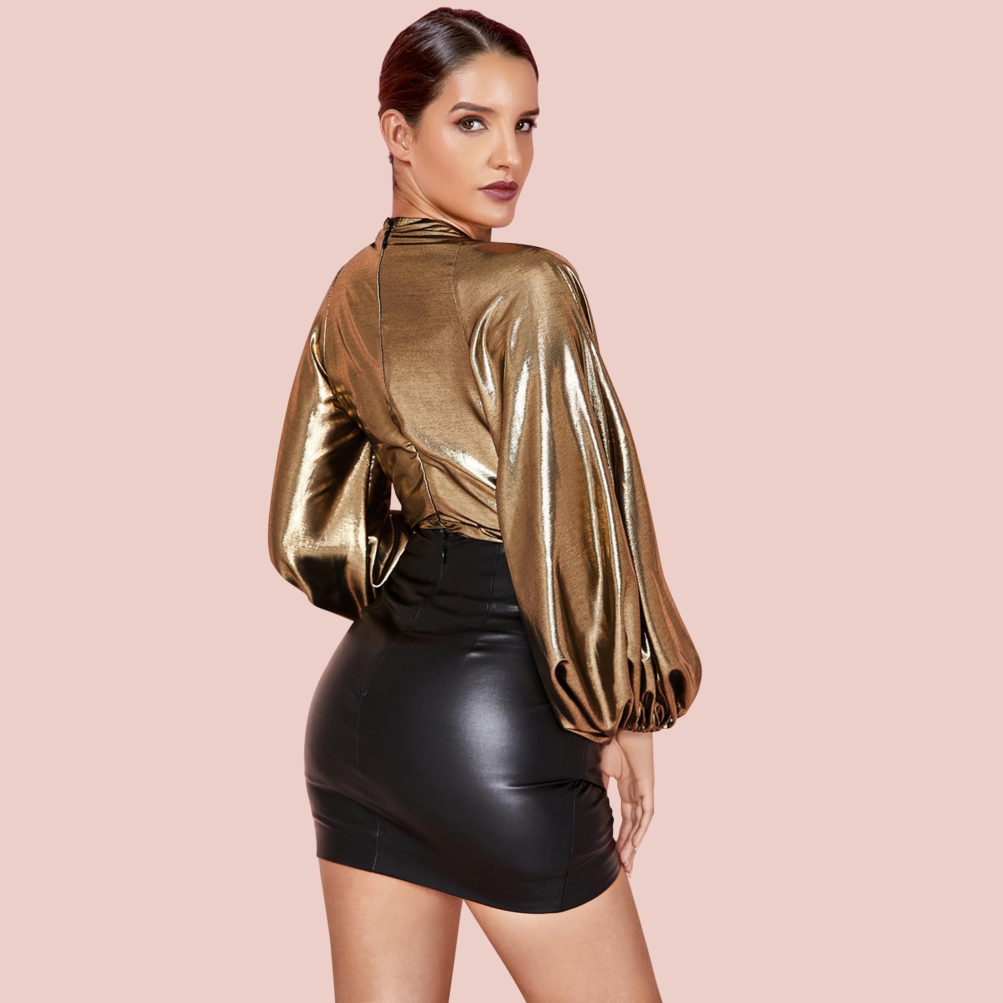 Gold V Neck Long Sleeve Mini Puff Sleeve Wrinkled Bodycon Set HI1101-Gold