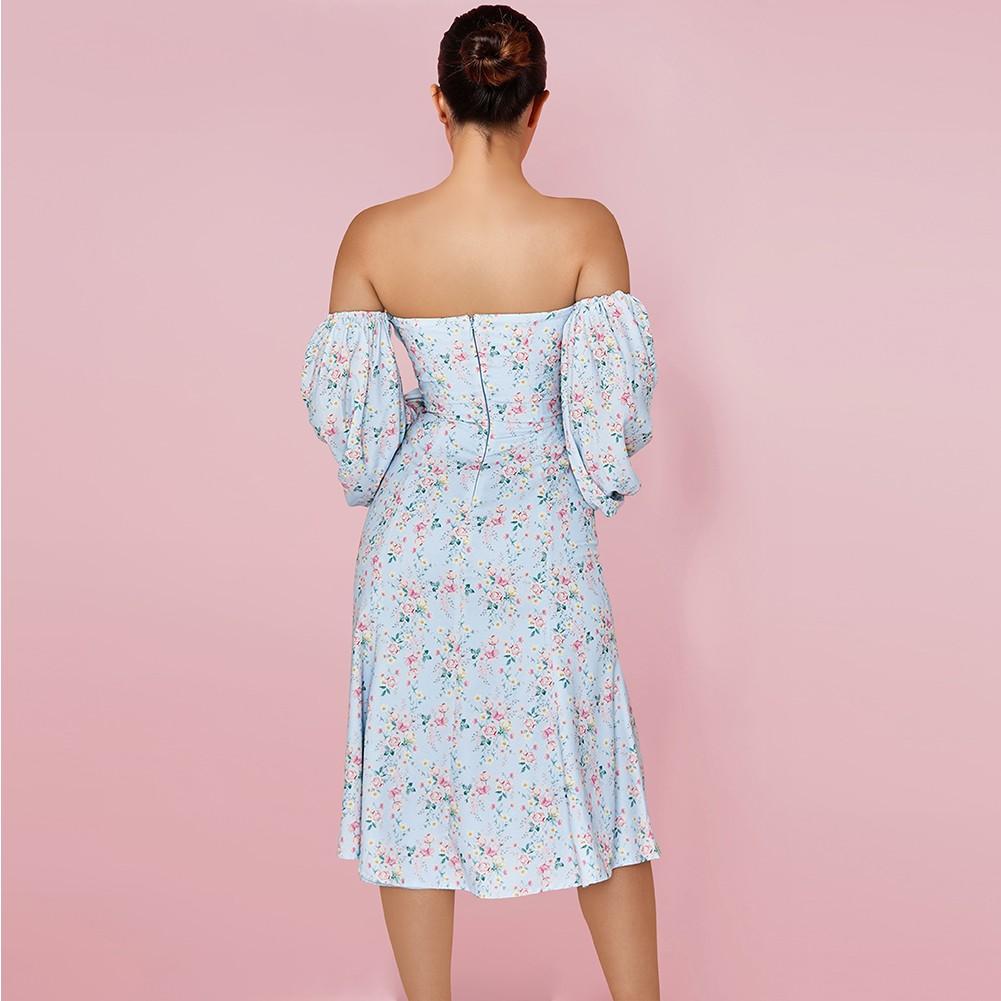 Blue Floral Frill Over Knee Long Sleeve Off Shoulder Bodycon Dress HI1164-Blue