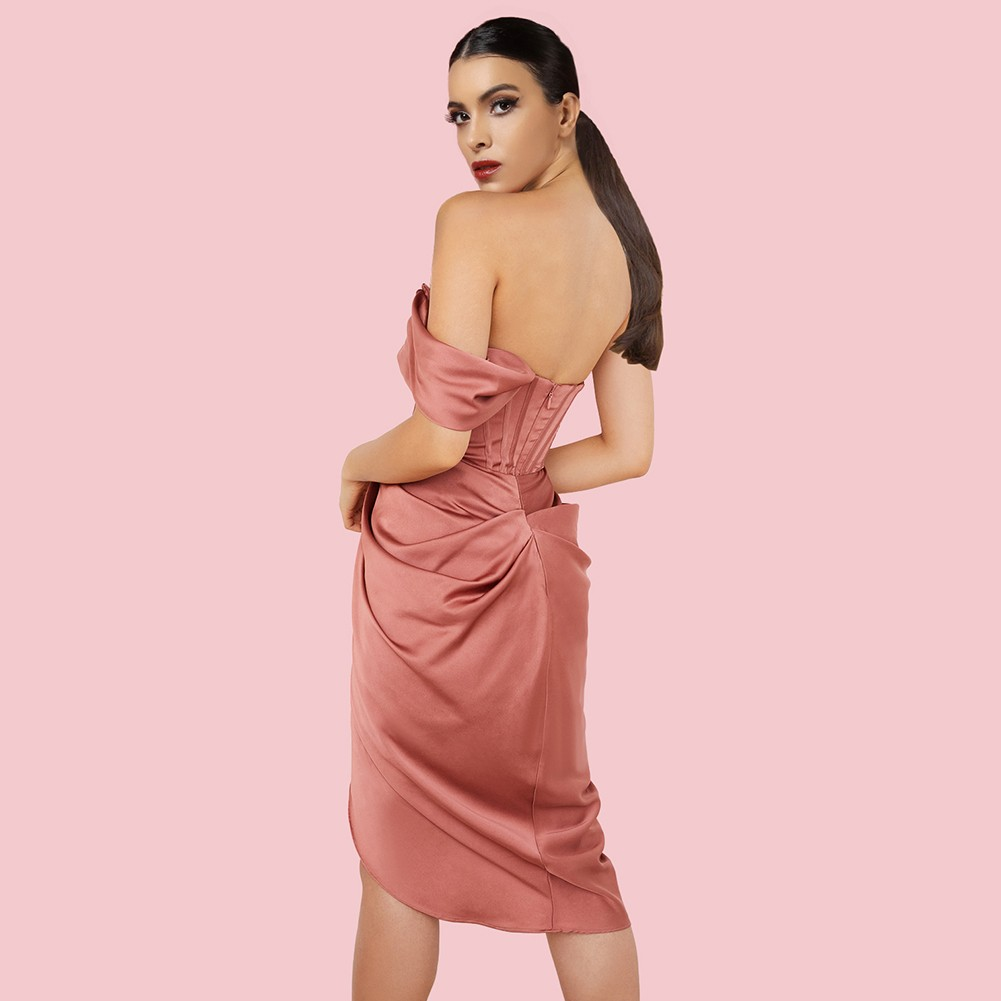 Coral Red Frill Asymmetrical Midi Short Sleeve Off Shoulder Bodycon Dress HI1236-Coral-Red