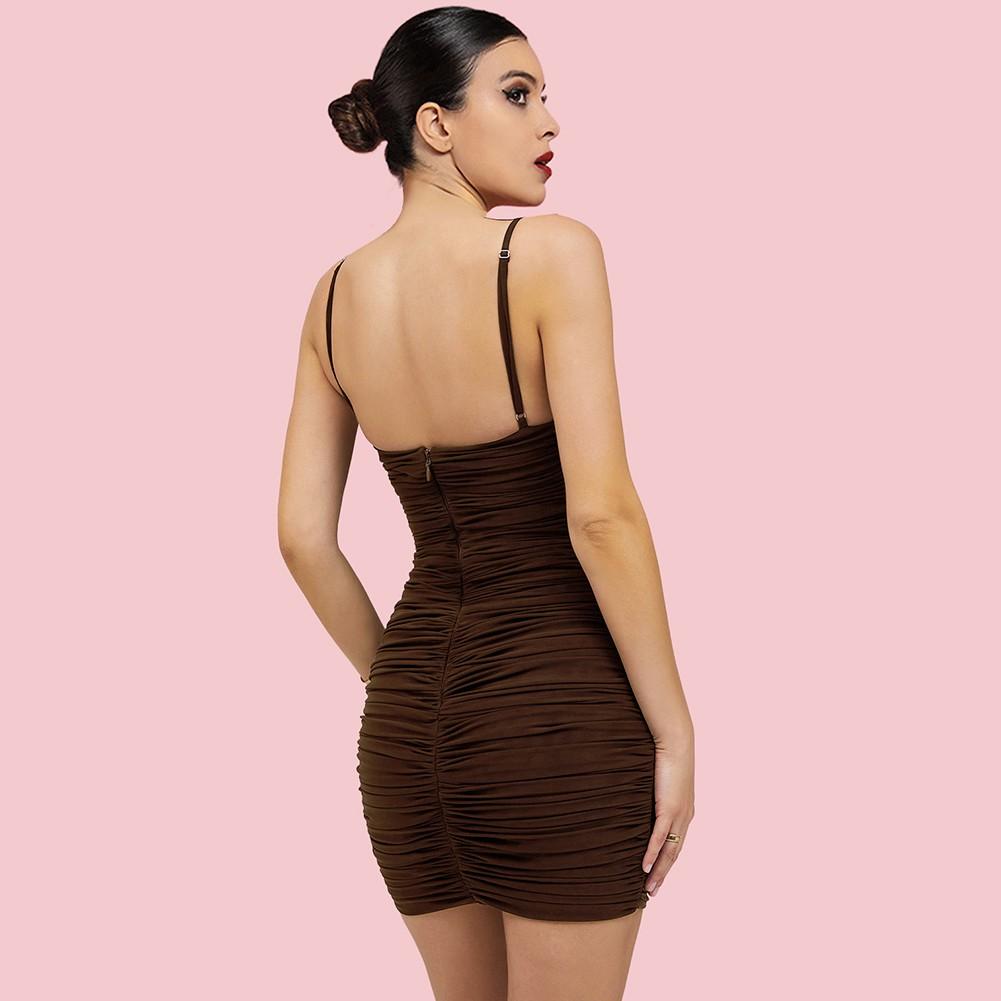 Coffee Backless Wrinkled Mini Sleeveless Strappy Bodycon Dress HI1237-Coffee