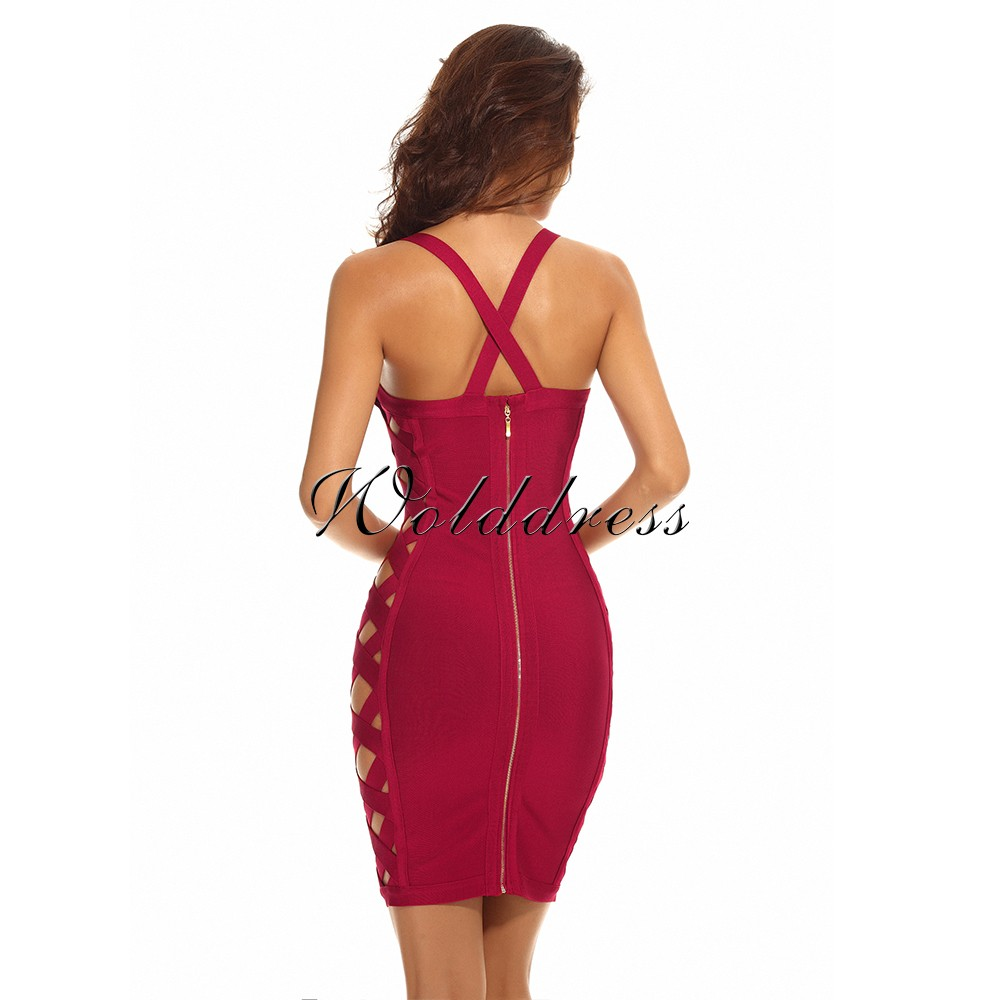 Halter Mini Sleeveless Cut Out Red Bandage Dress HI844-Red