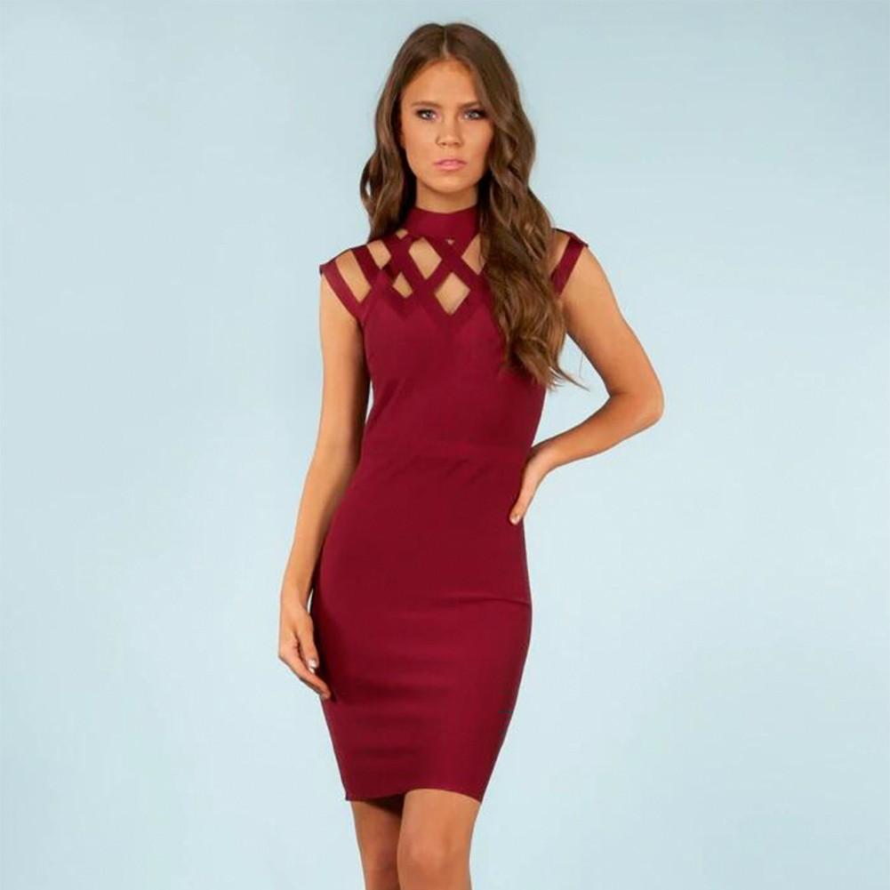 Wine Round Neck Sleeveless Mini Cut Out Fashion Bandage Dress HI868-Wine