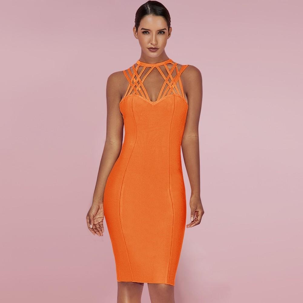 Orange Round Neck Sleeveless Mini Cut Out High Quality Bandage Dress HI881-Orange