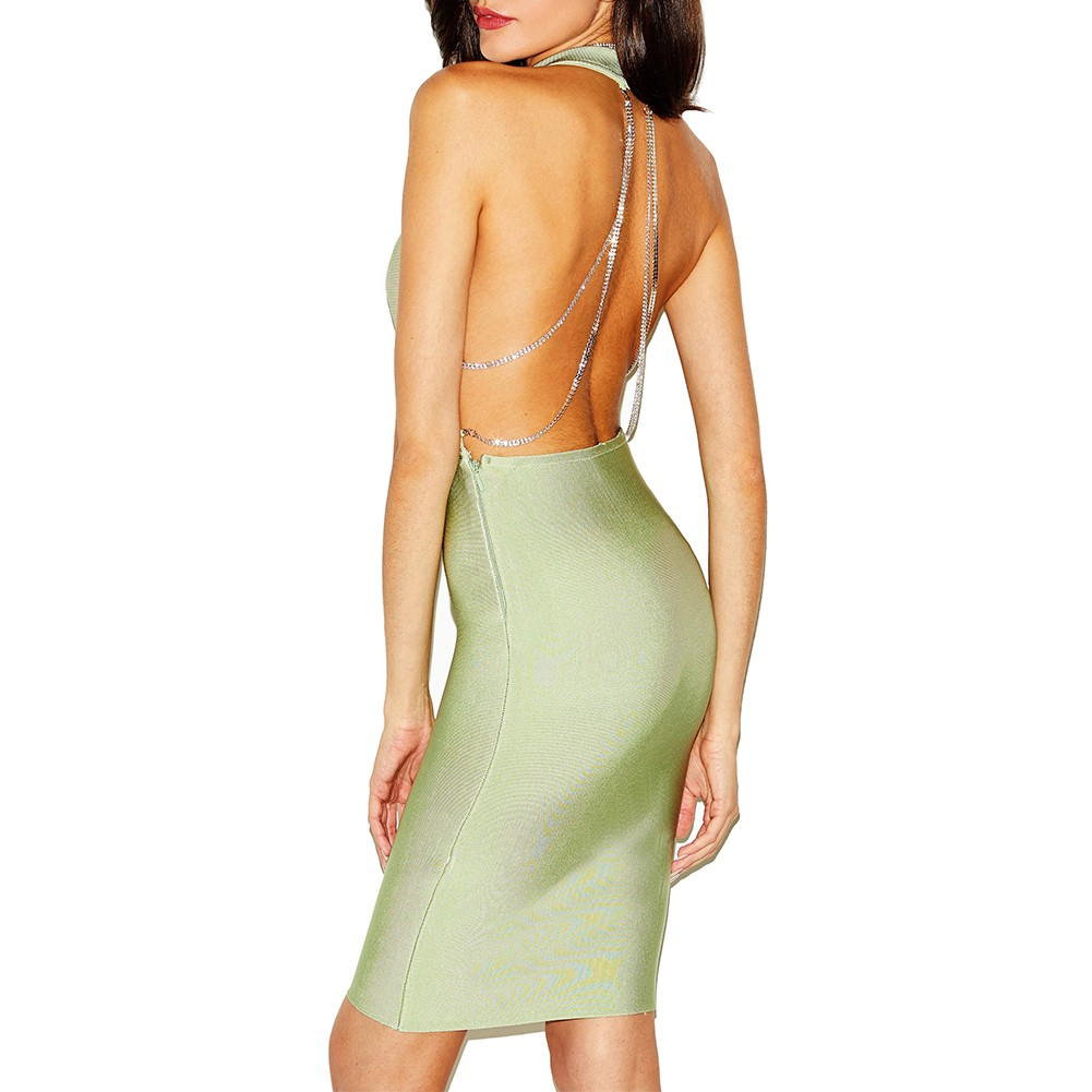 Green V Neck Sleeveless Mini Party Bandage Dress HI895-Green