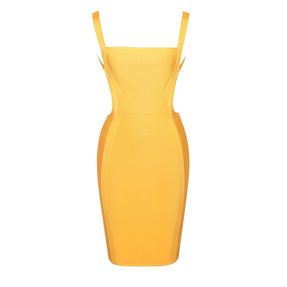 Yellow Strapy Sleeveless Mini Party Bandage Dress HI897-Yellow