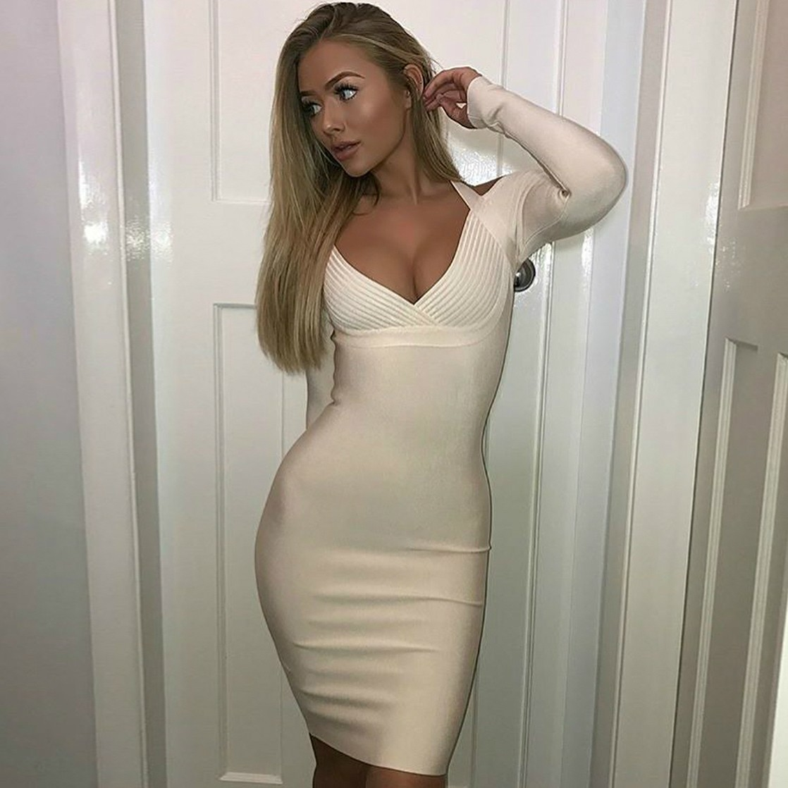 White Halter Long Sleeve Over Knee Off Shoulder V Neck Sexy Bandage Dress HI914-White