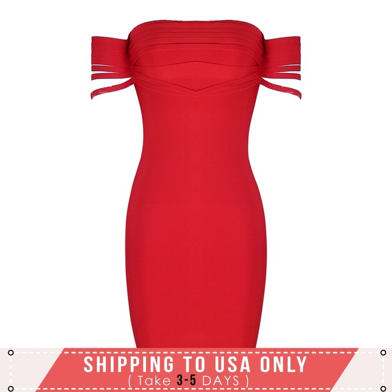 Red Off Shoulder Cap Sleeve Mini Stripe Decorated Fashion Bandage Dress HI918-Red