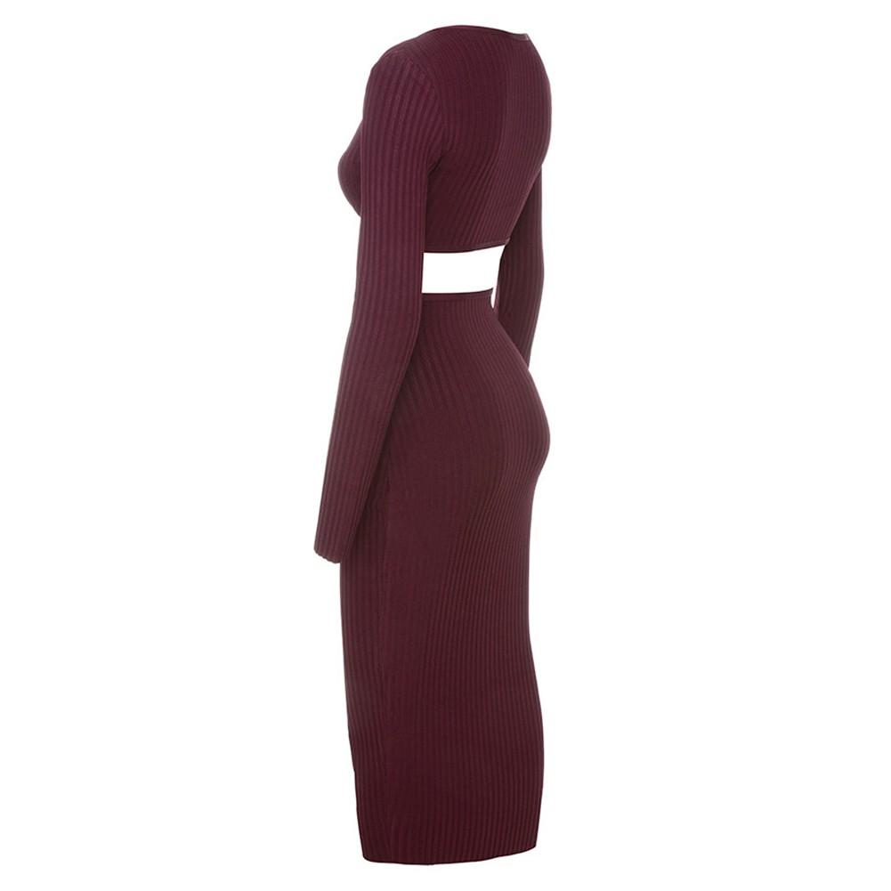 Wine V Neck Long Sleeve Maxi Cut Out Sexy Bandage Dress HI919-Wine