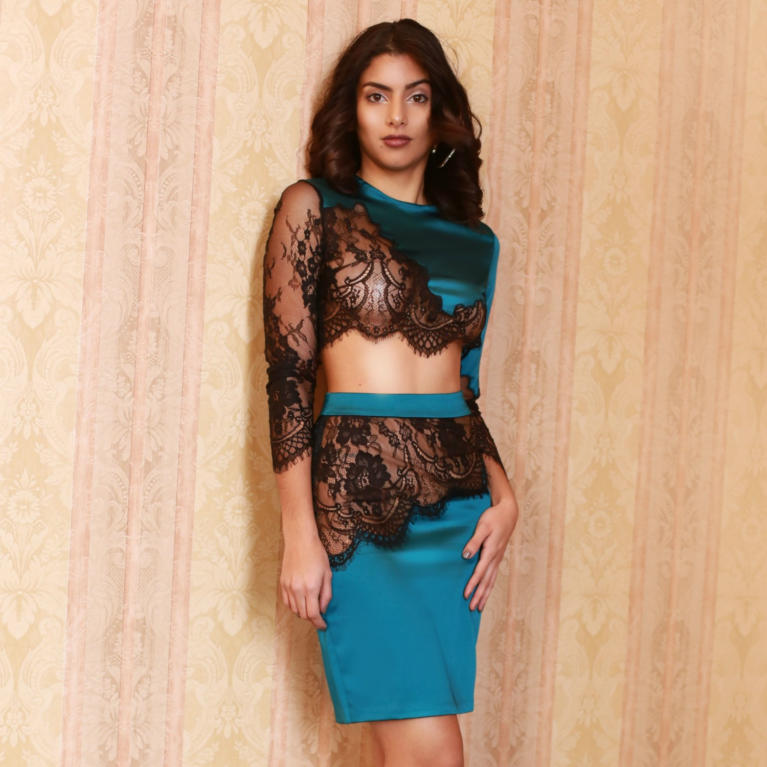 Turquoise Round Neck Long Sleeve 2 Piece Lace Transparent Party Bodycon Dress HI927-Turquoise