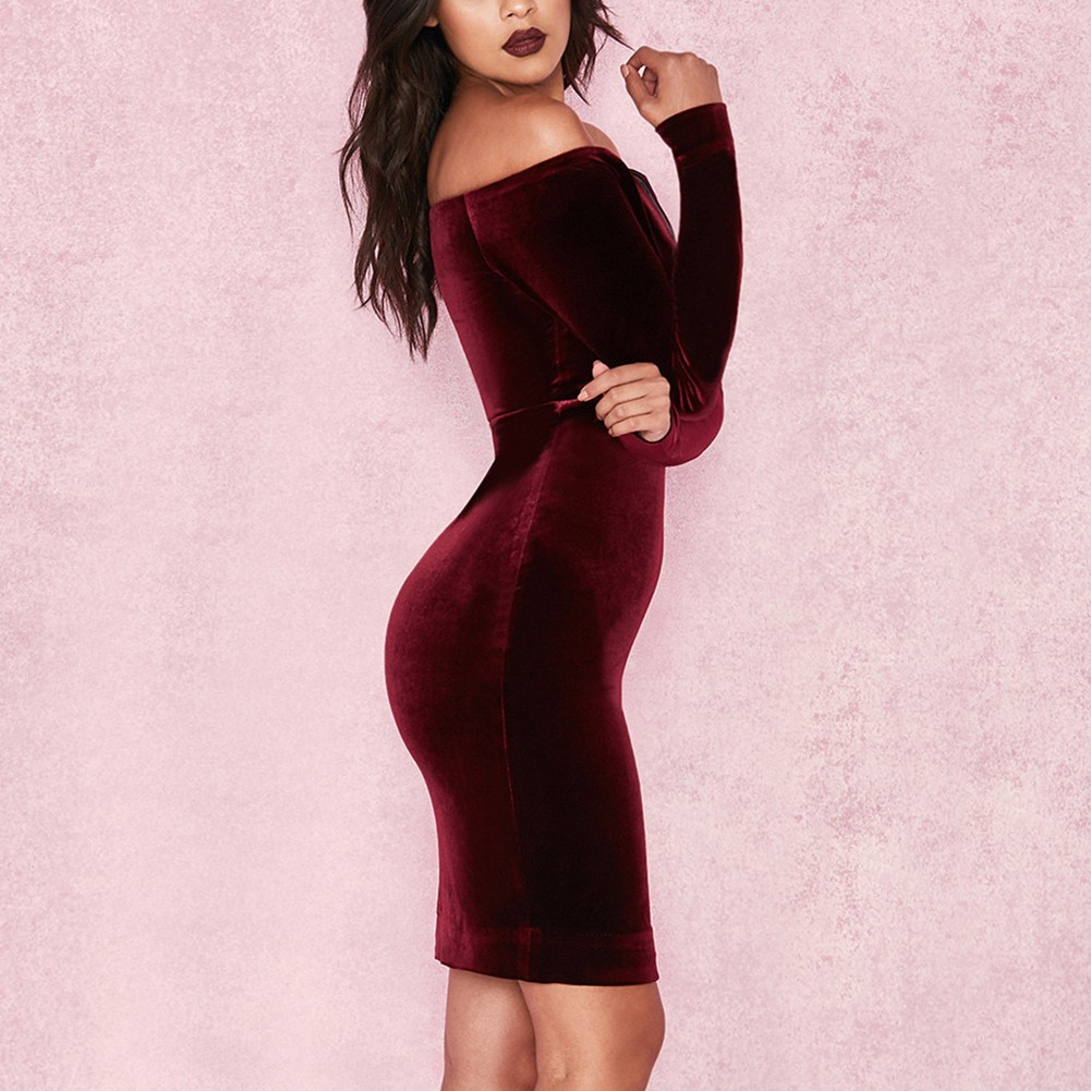Wine Off Shoulder Long Sleeve Mini Party Bodycon Dress  HI929-Wine