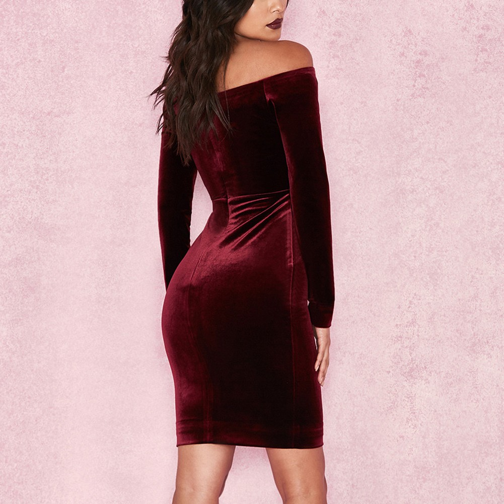 Wine Off Shoulder Long Sleeve Mini Party Bodycon Dress  HI929-Wine