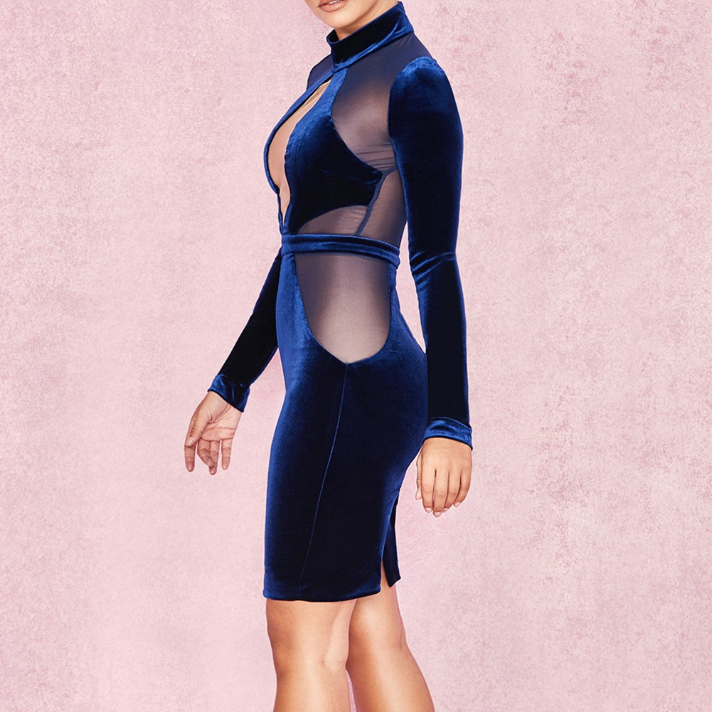Blue Round Neck Long Sleeve Mini Lace Up See Through Evening Bodycon Dress HI934-Blue