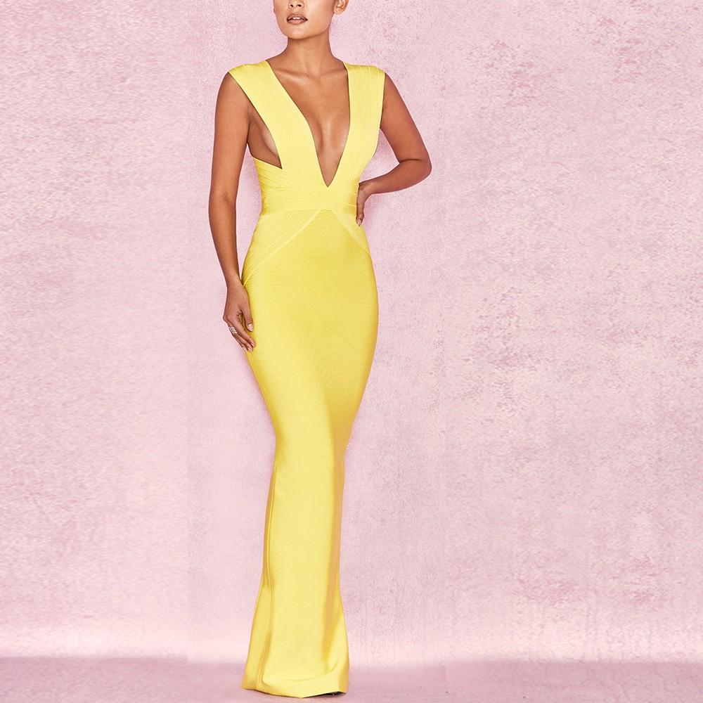 Yellow V Neck Sleeveless Maxi Back Slit Evening Bandage Dress HI939-Yellow
