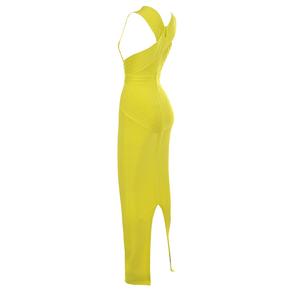 Yellow V Neck Sleeveless Maxi Back Slit Evening Bandage Dress HI939-Yellow