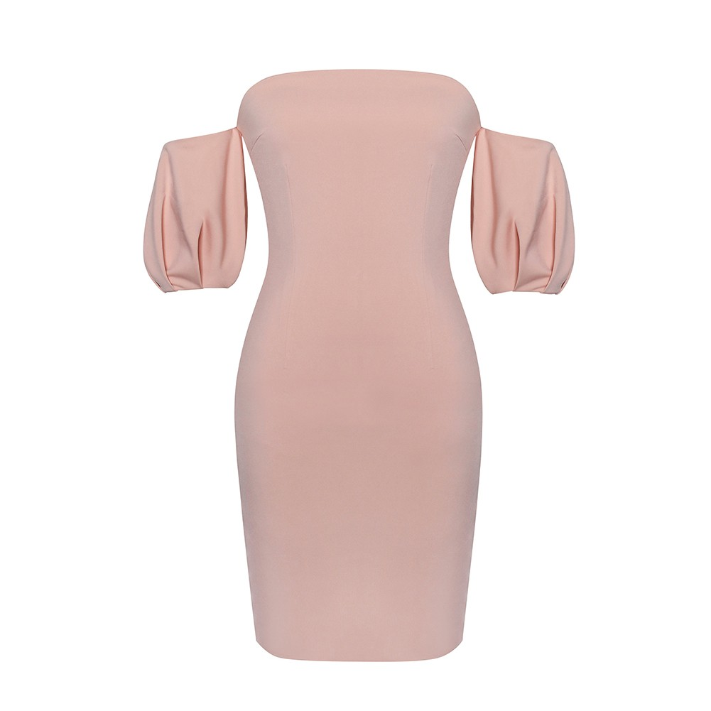 Pink Strapless Shortsleeve Mini Puff Sleeve Sexy Bodycon Dress HI950-Pink