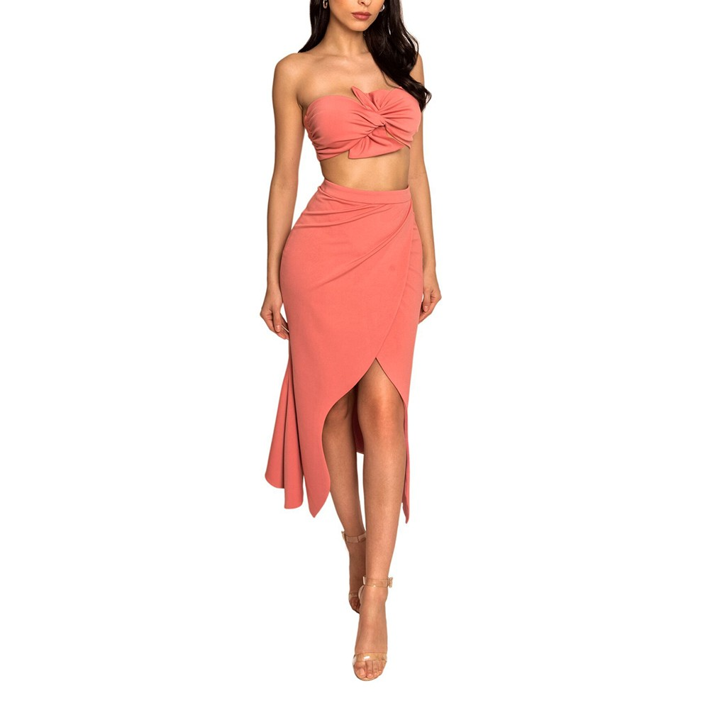 Orange Strapless Sleeveless 2 Piece Side Slit Maxi Party Bodycon Dress HI951-Orange