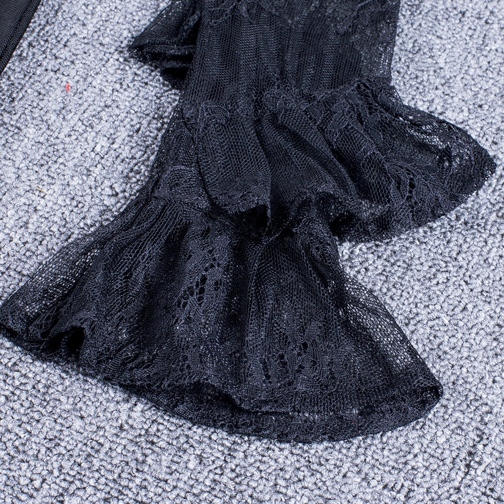Black Halter Longsleeve Mini Lace Up Mesh High Quality Bandage Dress HI952-Black