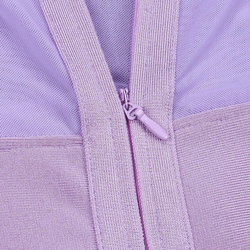 Purple Round Neck Short Sleeve Mini Mesh Blocked Back Zipped High Quality Bandage Dress HI955-Purple