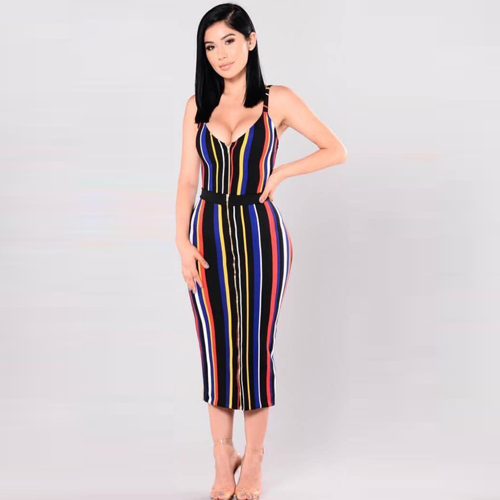 Rayon - Colorful Strapy Sleeveless Over Knee High Quality Bandage Dress HJ0151-Colorful