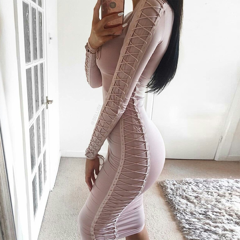 Rayon - Nude V Neck Long Sleeve Over Knee Knit Strapy High Quality Bandage Dress HJ0225-Nude
