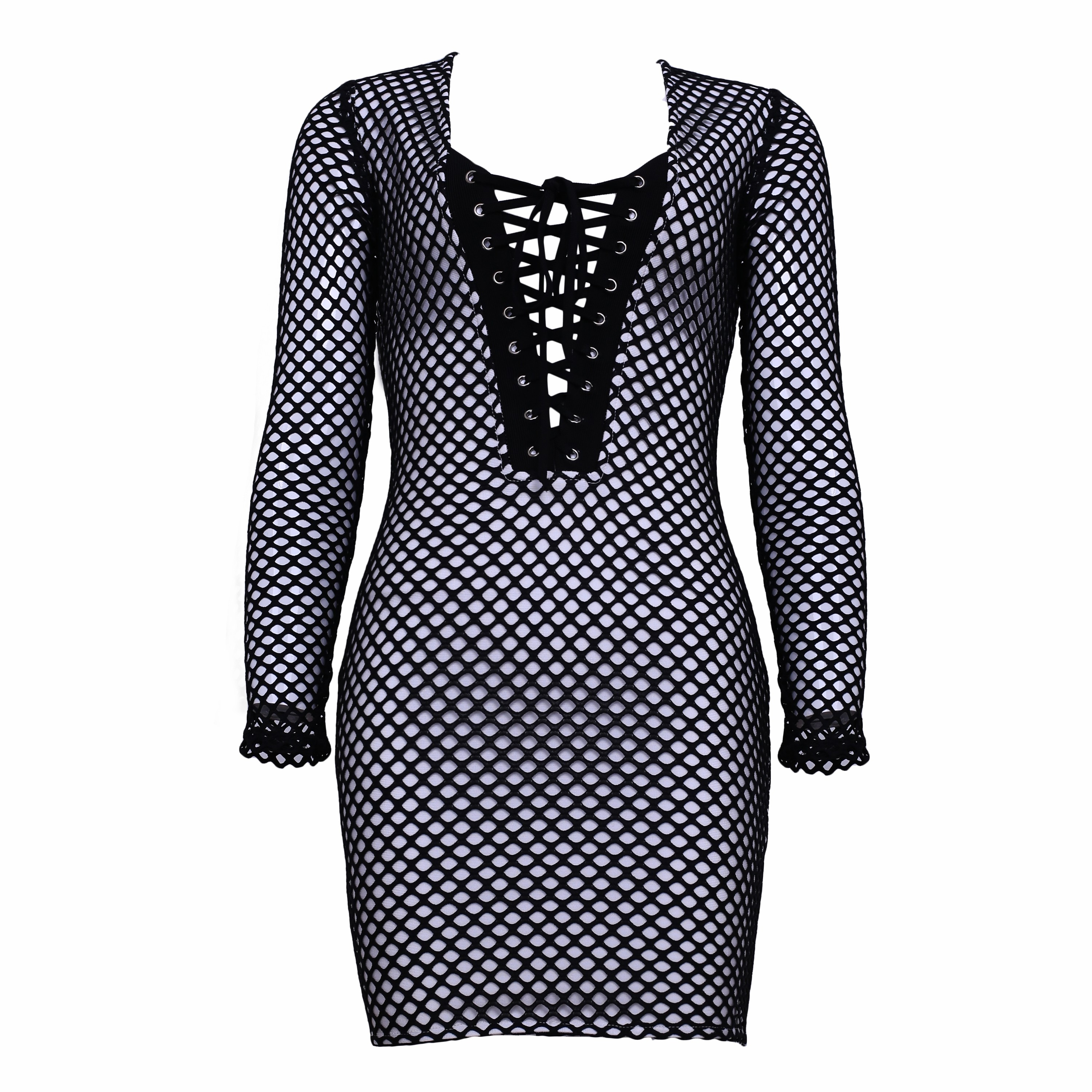 Rayon - Black Round Neck Long Sleeve Mini Cut Out Lace Up High Quality Bandage Dress HJ0270-Black