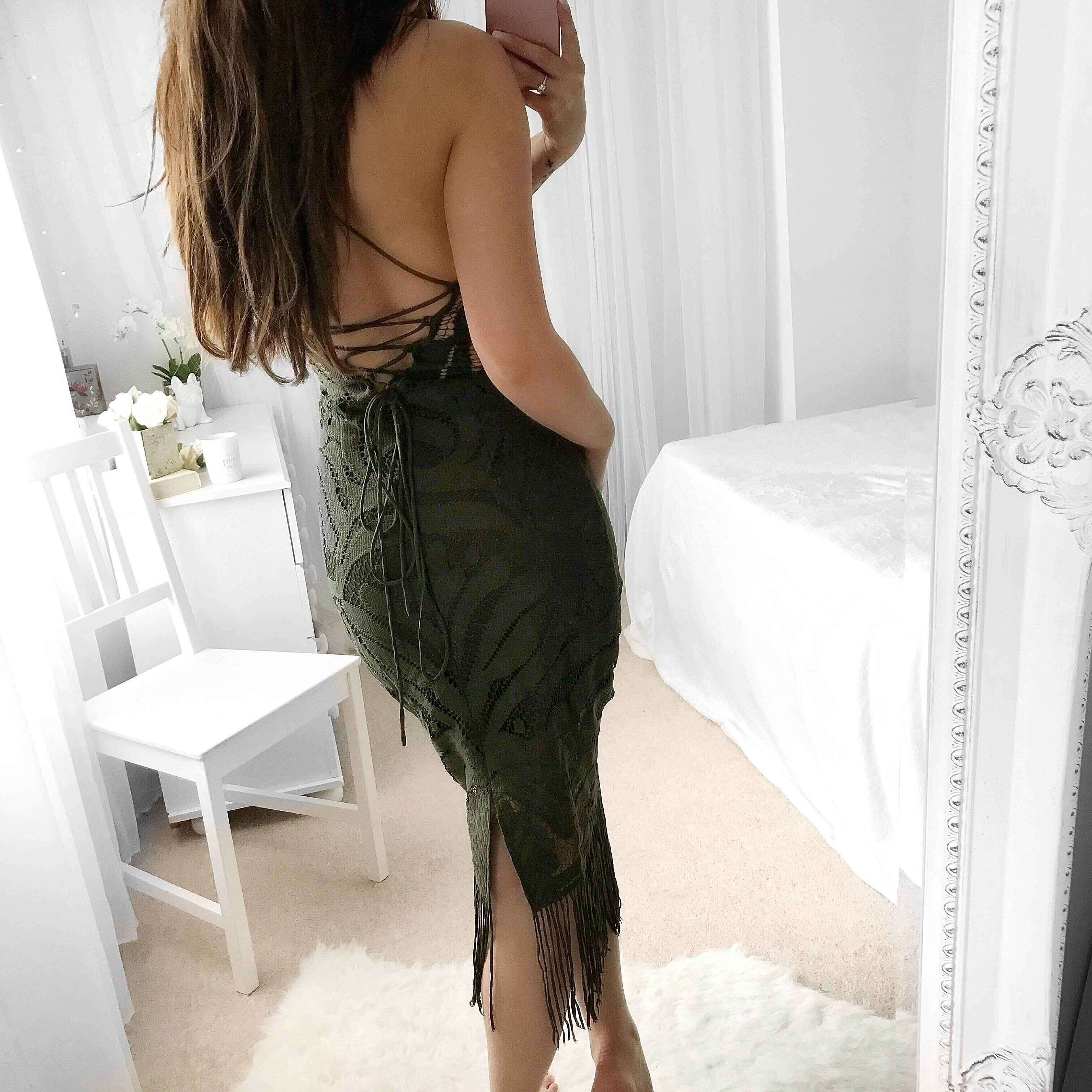 Rayon - Green Strapy Sleeveless Over Knee Lace Tassels Party Bandage Dress HJ080139-Green