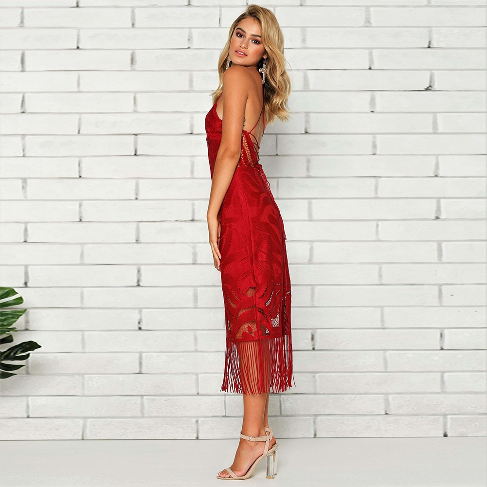 Rayon - Red Strapy Sleeveless Over Knee Lace Tassels Party Bandage Dress HJ080139-Red